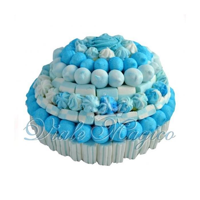 Bomboniere Faidate Bouffet Caramellata Torta Marshmallow Azzurra