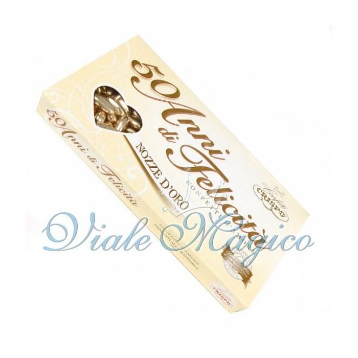 Bomboniere Faidate Confetti Crispo Pelata Oro per le Nozze D'Oro da 500 g