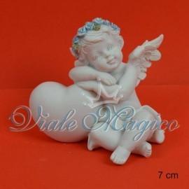 Statuina Angioletto con Cuore Celeste
