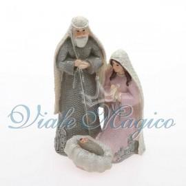 Presepe Sacra Famiglia Grigio Rosa