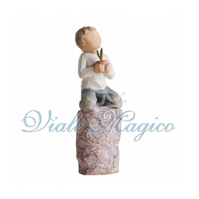 Statuina Bimbo con Piantina per Comunione