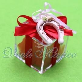Bomboniere Laurea Plexiglass Rosso con Ferro di Cavallo Portafortuna Offerte