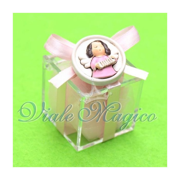 Bomboniera Nascita Battesimo Plexiglass Rosa con Magnete Angioletto Bimba