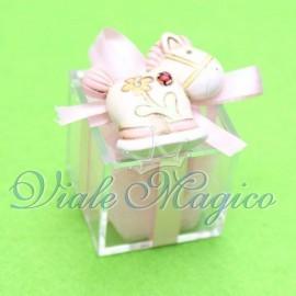Bomboniere Nascita Battesimo Plexiglass Rosa con Magnete Pony Bimba