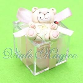 Bomboniere Nascita Battesimo Plexiglass Rosa con Magnete Orsetto Bimba