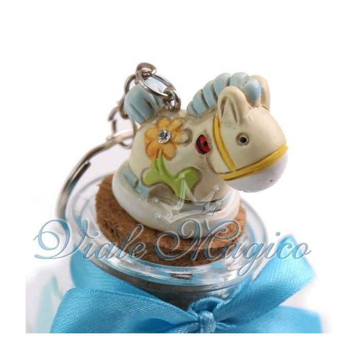Vasetto in Vetro con Portachiave Pony Celeste