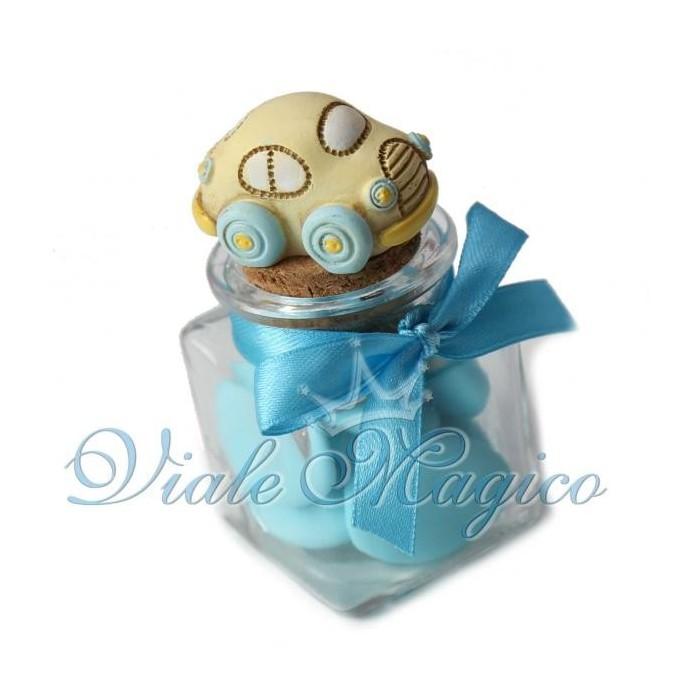 Bomboniere Nascita Battesimo Primo Compleanno Vasetto in Vetro Macchinina Bimbo