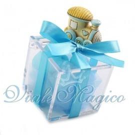 Bomboniere Nascita Battesimo Primo Compleanno Plexiglass Celeste Trenino Bimbo