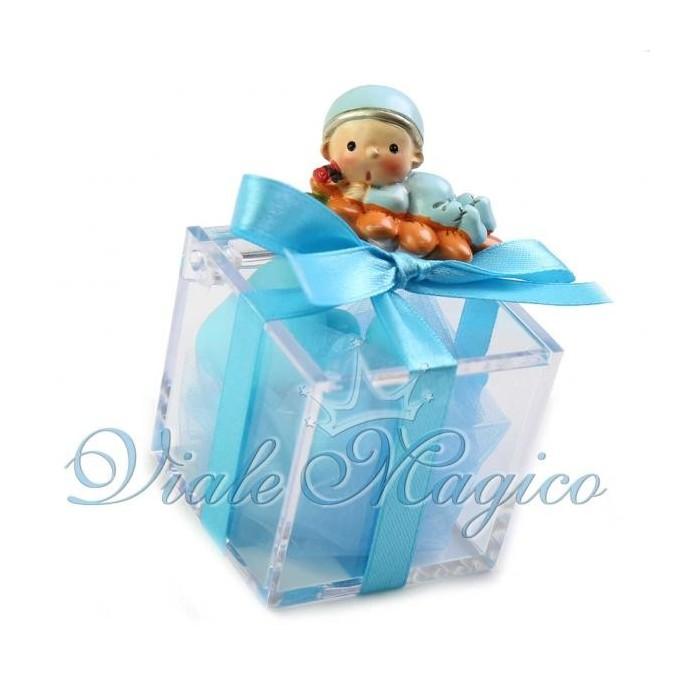 Bomboniera Nascita Battesimo Primo Compleanno Plexiglass Bimbo su Girasole