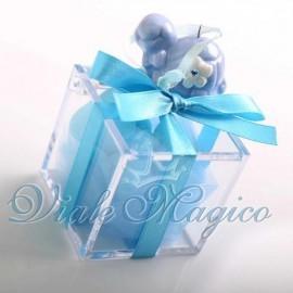 Bomboniera Nascita Battesimo Plexiglass Celeste Appendino Tartaruga per Bimbo
