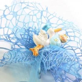 Bomboniere Nascita Battesimo Sacchetto Velo a Rete con Magnete Cicogna Bimbo