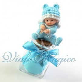 Bomboniera Nascita Battesimo Primo Compleanno Vasetto in Vetro con Baby Celeste
