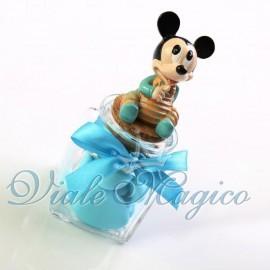 Vasetto in Vetro con Topolino Disney Celeste