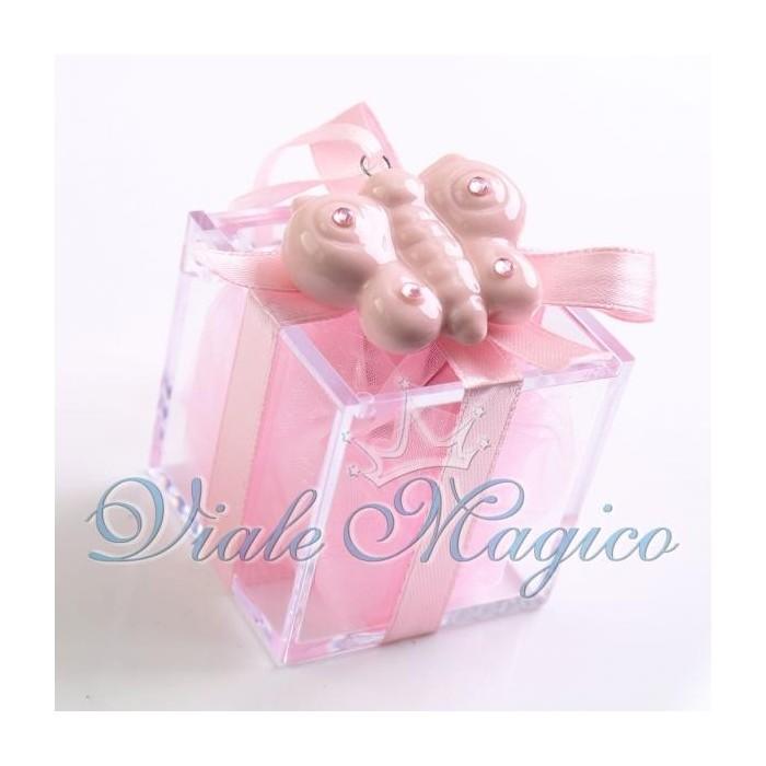 Bomboniera Nascita Battesimo 1° Compleanno Plexiglass Appendino Farfalla Bimba