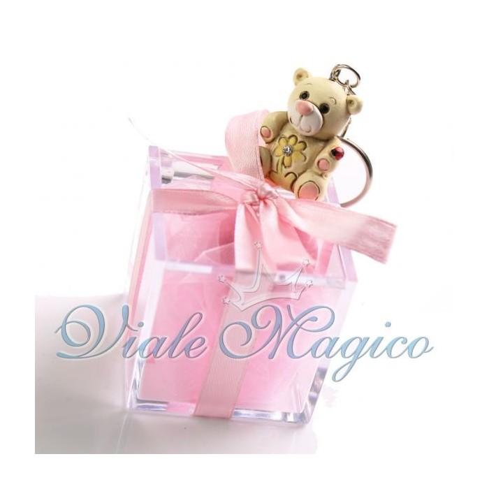 Plexiglass Rosa con Portachiave Orsetto Flower