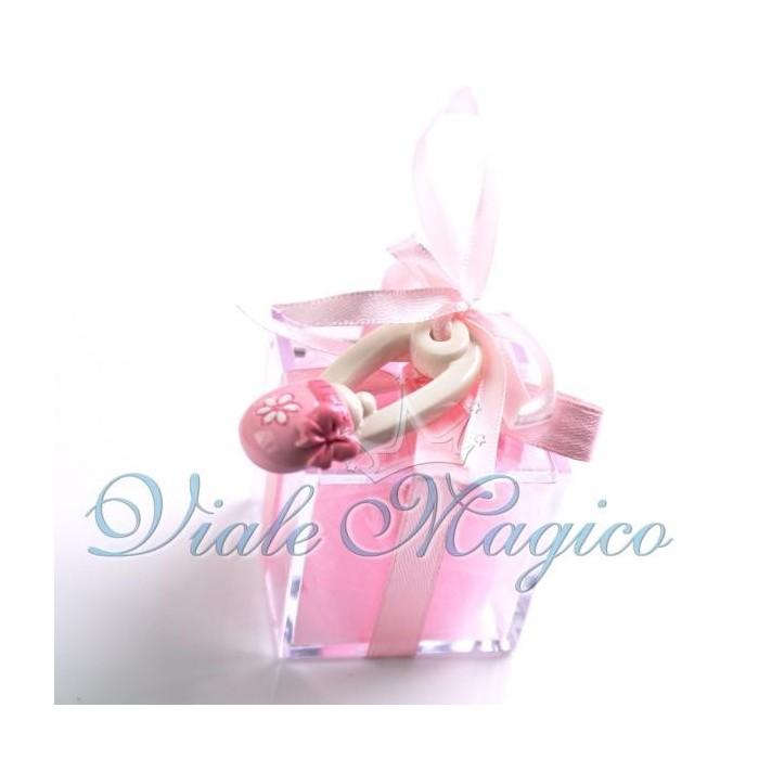 Bomboniera Nascita Battesimo Primo Compleanno Plexiglass Appendino Spilla
