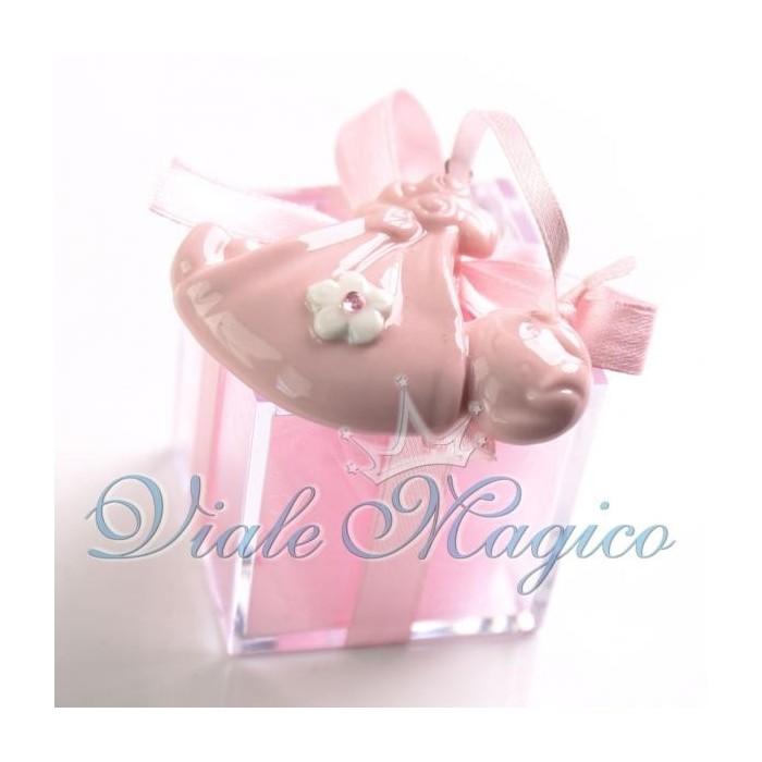 Bomboniera Nascita Battesimo Plexiglass Rosa Bimba Appendino Fagotto Offerte