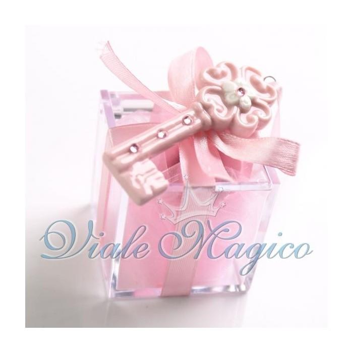 Bomboniera Nascita Battesimo Plexiglass Rosa con Chiave Fiore Bimba Offerte