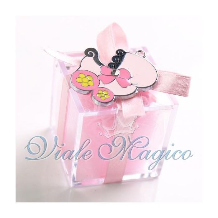 Bomboniera Nascita Battesimo Plexiglass Rosa con Ciondolo Carrozzina per Bimba