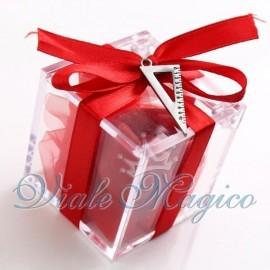 Plexiglass Rosso con Ciondolo Squadretta Mini