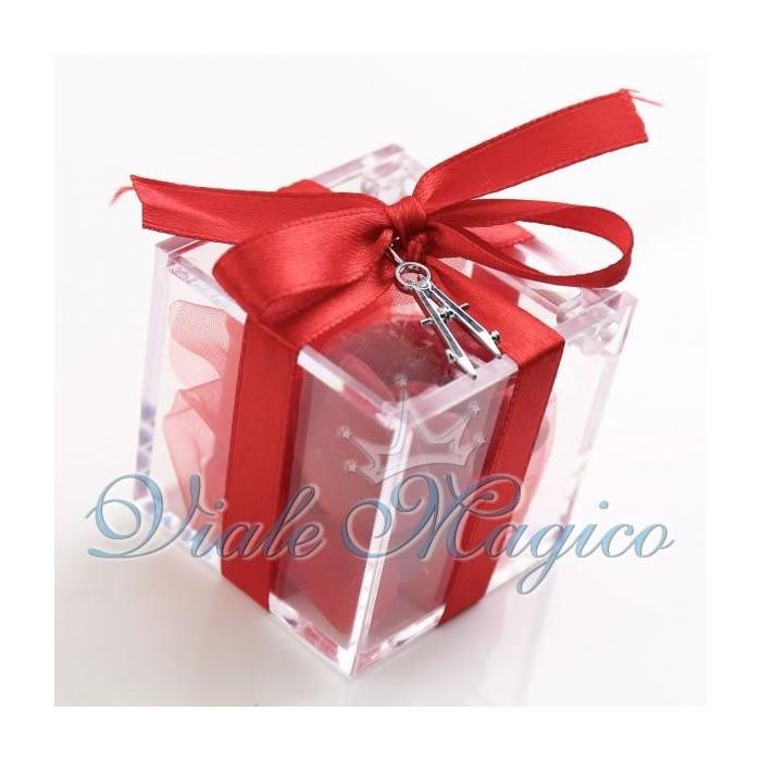 Bomboniere Laurea Architettura Plexiglass Rosso con Ciondolo Compasso Mini