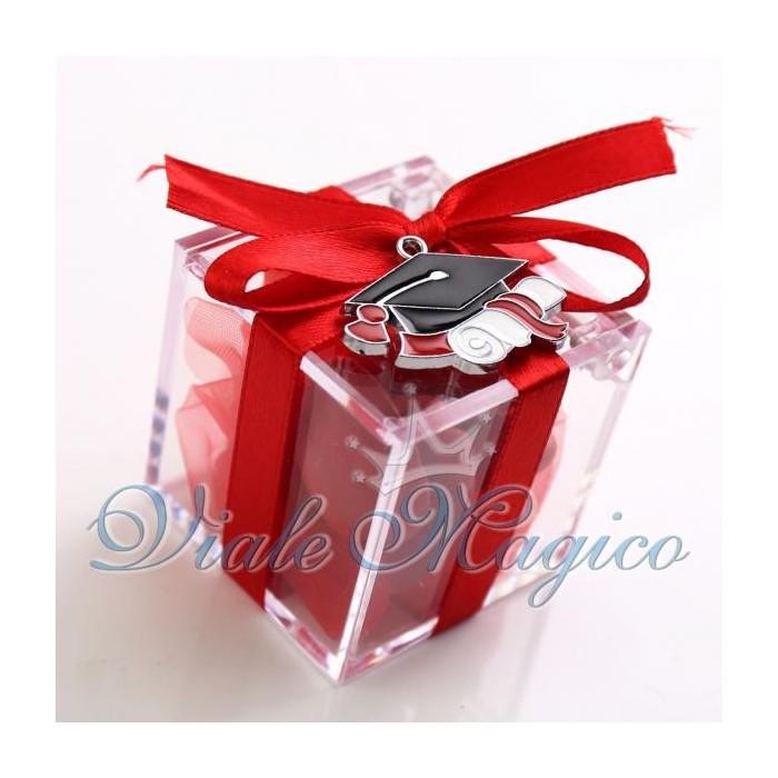 Bomboniere Laurea Portafortuna Plexiglass Rosso Cappello Tocco Laureato Confetti