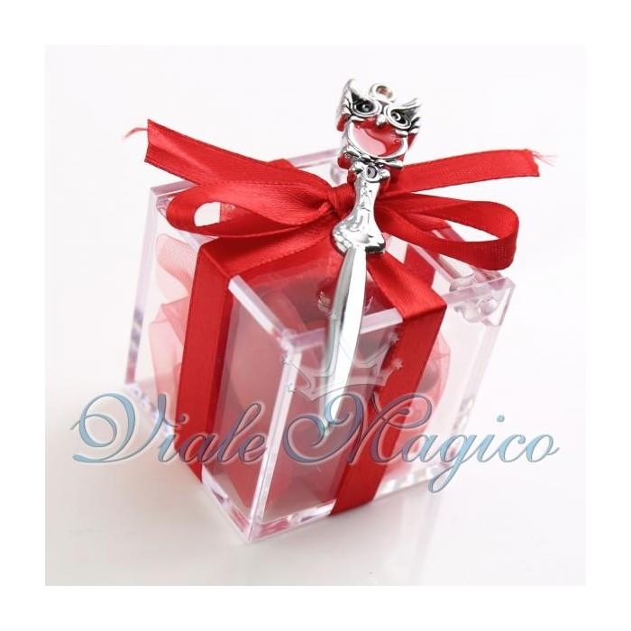 Bomboniere Laurea Plexiglass Rosso con Tagliacarte con Gufetto