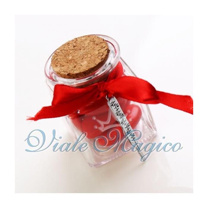 Offerte Bomboniere Laurea Vasetto in Vetro con Ciondolo Termometro Confettata