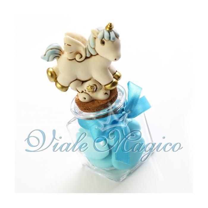 Bomboniera Nascita Battesimo Vasetto in Vetro con Statuina Unicorno Bimbo
