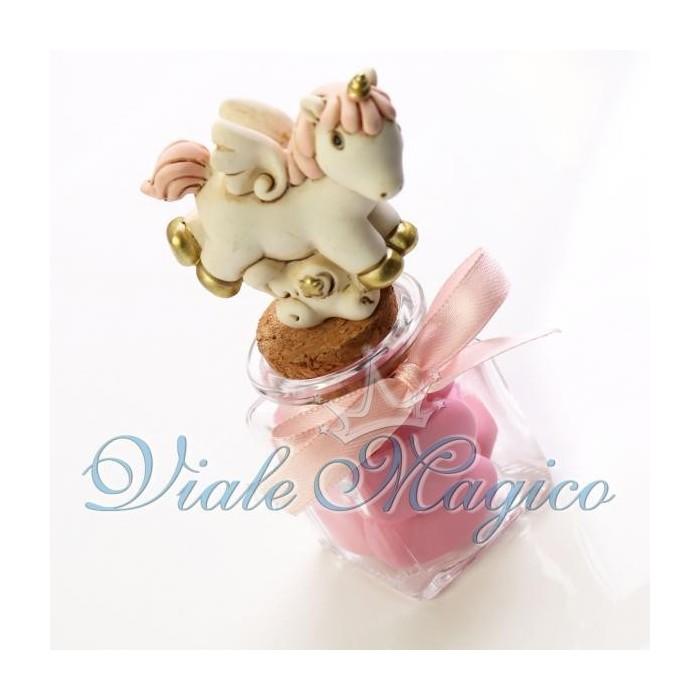 Bomboniera Nascita Battesimo Vasetto in Vetro con Statuina Unicorno Bimba Sconti