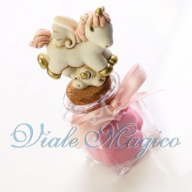 Vasetto in Vetro con Statuina Unicorno Rosa