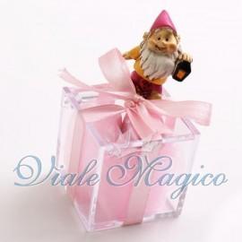 Plexiglass Rosa con Statuina Gnomo Fucsia