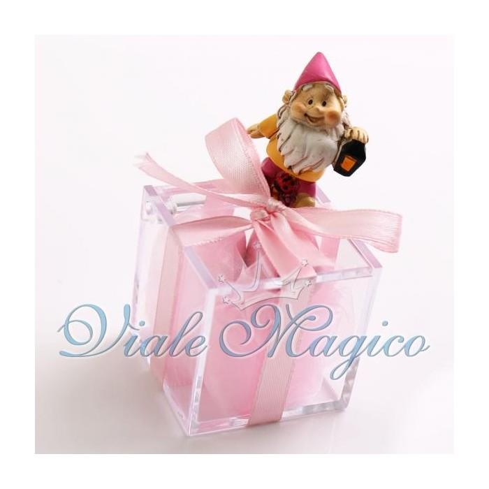 Bomboniera Nascita Battesimo Plexiglass Rosa con Statuina Gnomo Fucsia