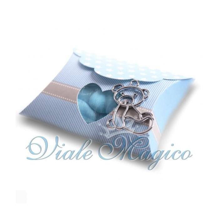 Bomboniere Nascita Battesimo Astuccio Stelle per Bimbo con Ciondolo Orsetto