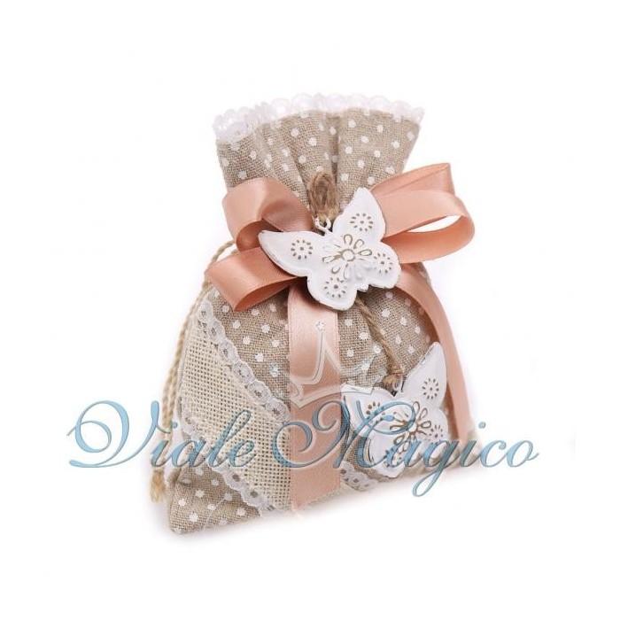 Bomboniera Sacchetto a Pois con Farfalle Shabby Chic Confettata Compleanno