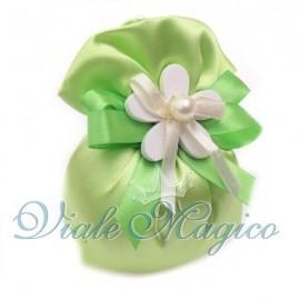 Sacchetto in Raso Verde con Fiore Perla Promessa