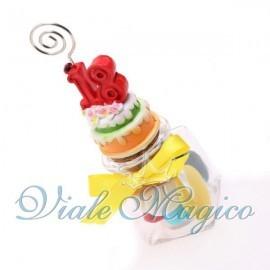 Bomboniere Compleanno Vasetto in Vetro con Memoclip Maxi Torta 18 Anni