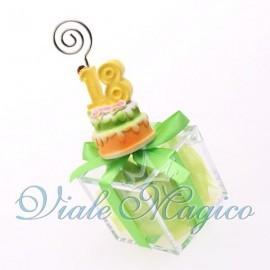 Bomboniere Compleanno Plexiglass Verde con Memoclip Torta Maxi 18 Anni