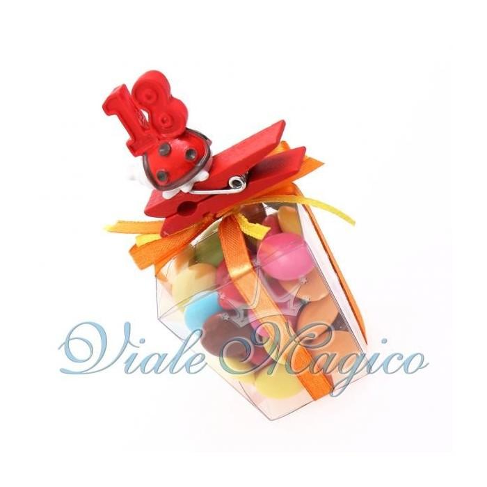 Bomboniere Compleanno Astuccio in PVC con Mollettina Coccinella 18 Anni Confetti