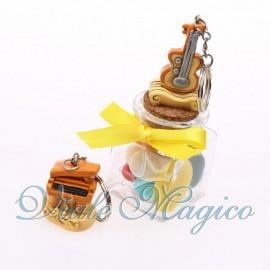 Vasetto in Vetro con Portachiave Strumenti Musicali