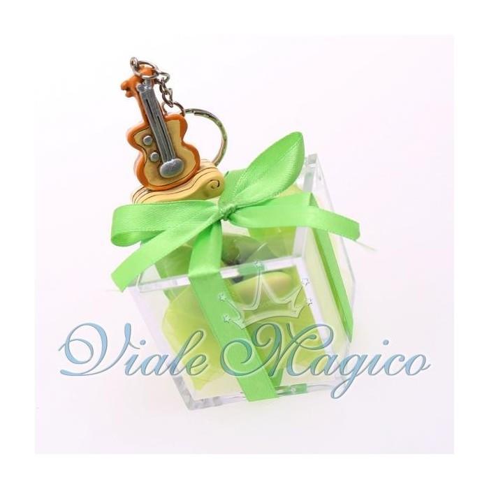 Bomboniere Compleanno Plexiglass Verde con Portachiave Strumenti Musicali