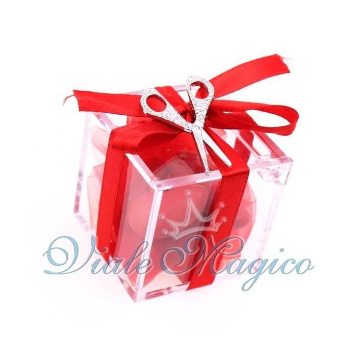 Bomboniere Laurea Plexiglass Rosso con Ciondolo Forbice Portafortuna Confettata