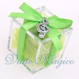 Plexiglass Verde con Ciondolo Chiave di Violino Strass