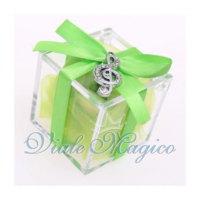 Bomboniere Compleanno Plexiglass Verde con Ciondolo Chiave di Violino Strass