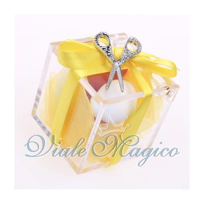 Bomboniere Compleanno Plexiglass Giallo con Forbice Portafortuna