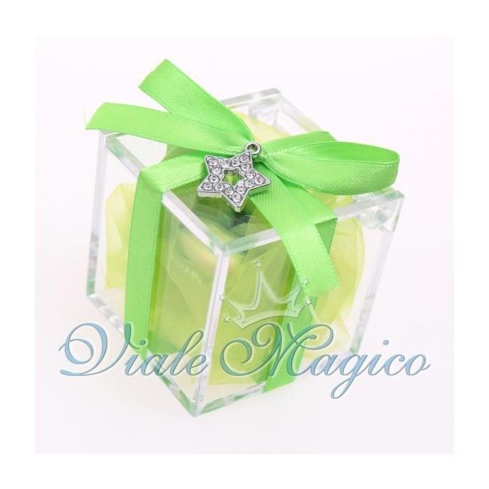 Bomboniere Compleanno Plexiglass Verde con Ciondolo Stellina Strass