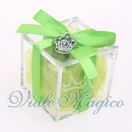 Plexiglass Verde con Ciondolo Corona Strass