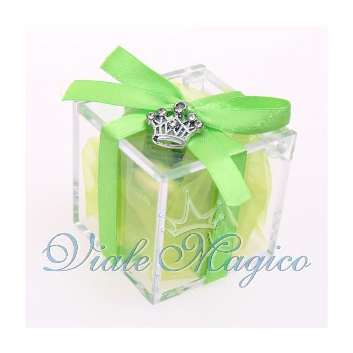 Bomboniere Compleanno Plexiglass Verde con Ciondolo Corona Strass