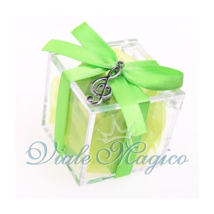 Bomboniere Compleanno Plexiglass Verde con Chiave di Violino Silver