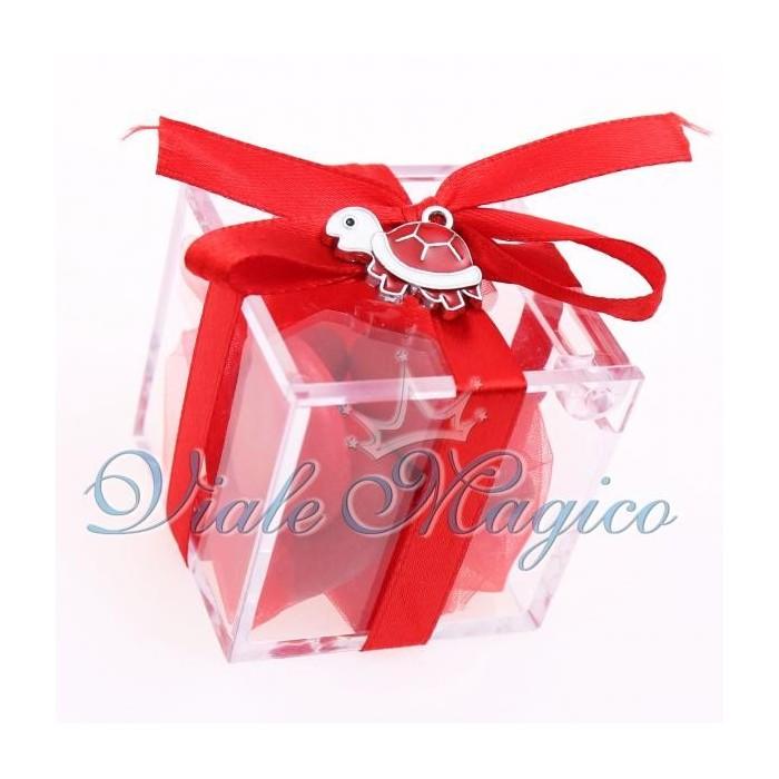 Bomboniere Compleanno Plexiglass Rosso con Ciondolo Tartaruga